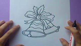 Como dibujar unas campanas de navidad paso a paso | How to draw Christmas bells