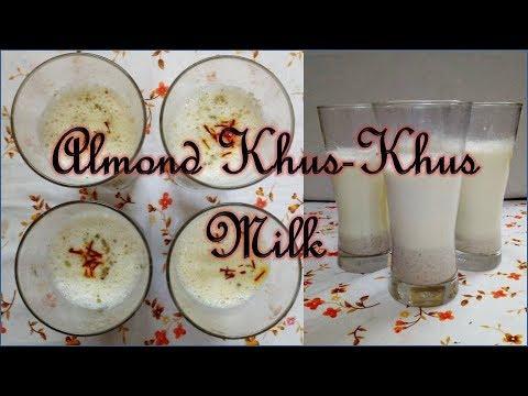 BADAM (ALMOND) KHAS-KHAS (POSTO) (POPPY SEEDS) HOT MILK - बादाम खस-खस दूध  RECIPE IN HINDI