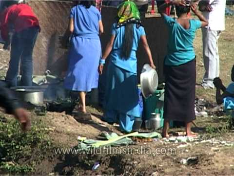 Woman washes dishes in dirty pond water, Assam