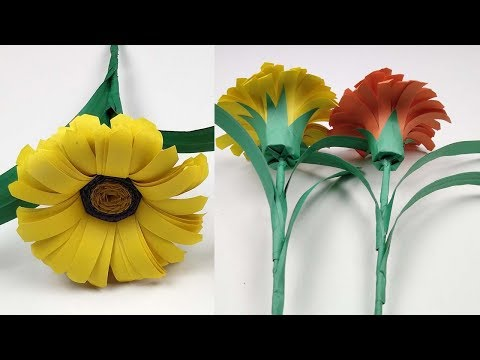 Easy Paper Flowers | How To Make SunFlower | Making SunFlower With Color Paper | Flower Making