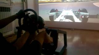 F1 2016 4K Projector Gameplay w/seat&wheel