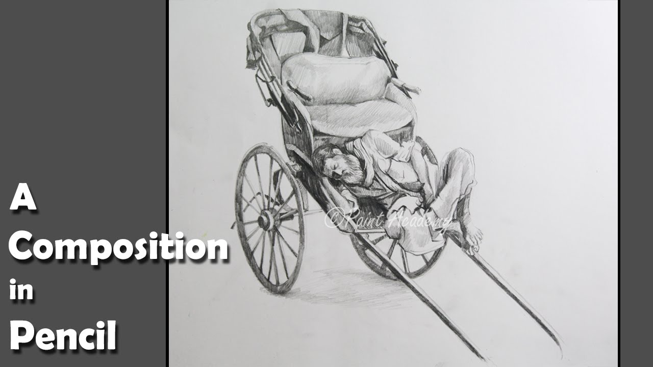 A composition in pencil rickshaw puller