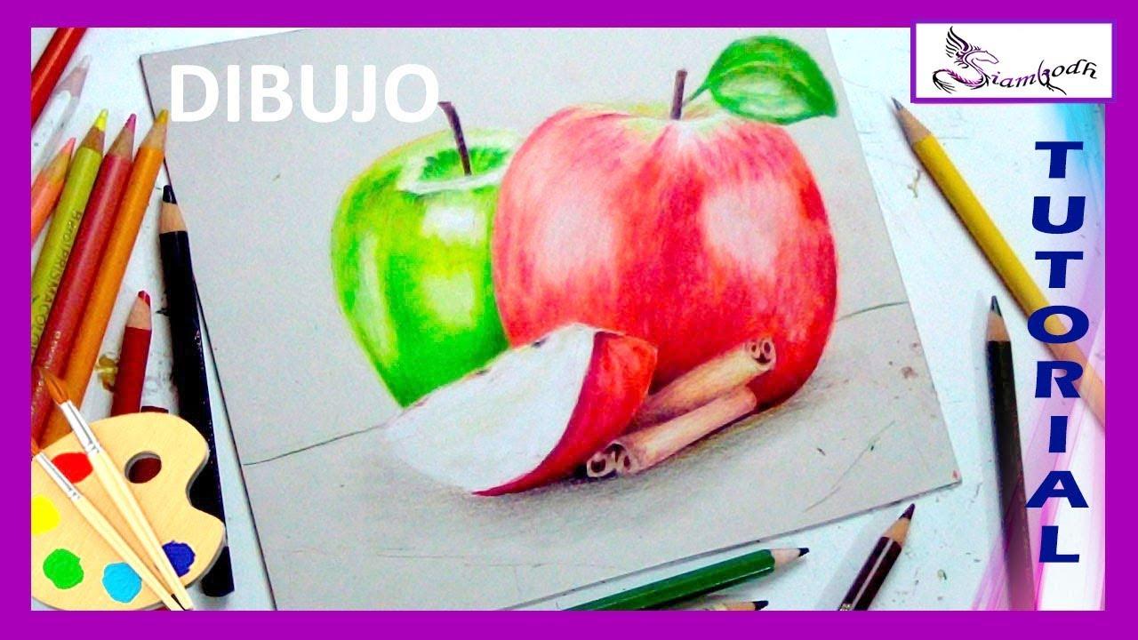 Como Dibujar Manzanas en Lapices de Colores Aprende a Colorear ...