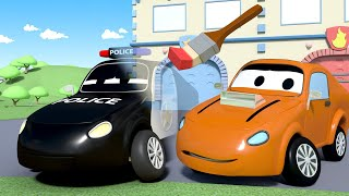 Police car for kids -  The Invisible Ink Painting - Car Patrol in Car City !
