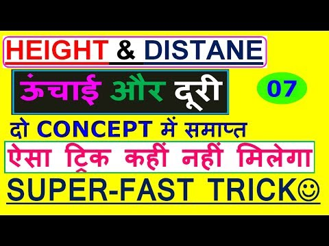 ✔COMPLETE HEIGHT AND DISTANCE for SSC CGL-7|2016 SSC CGL Mains Questions|short Trick[IN HINDI]