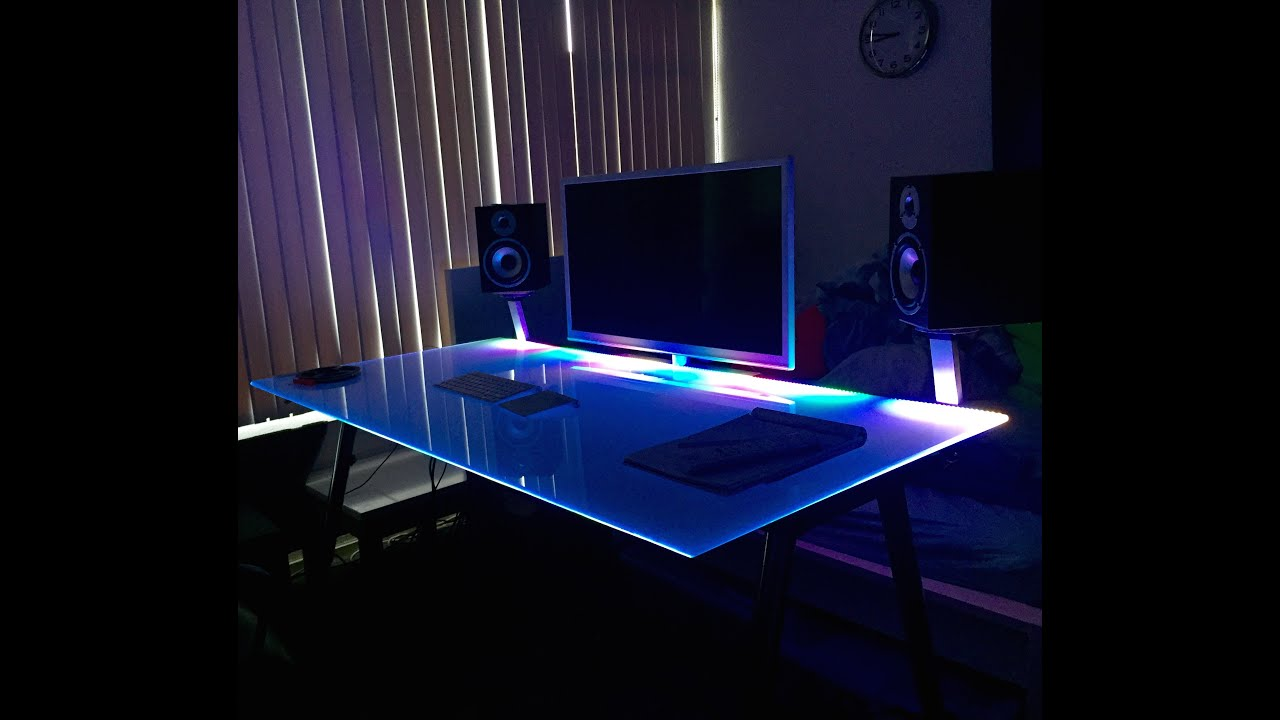 Glass Desk Led Lighting Youtube