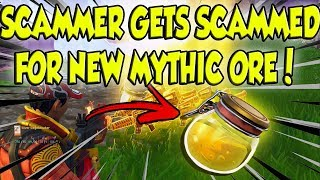 Scamming A Scammer For NEW MYTHIC ORE! (Scammer Get Scammed) Fortnite Save The World PVE