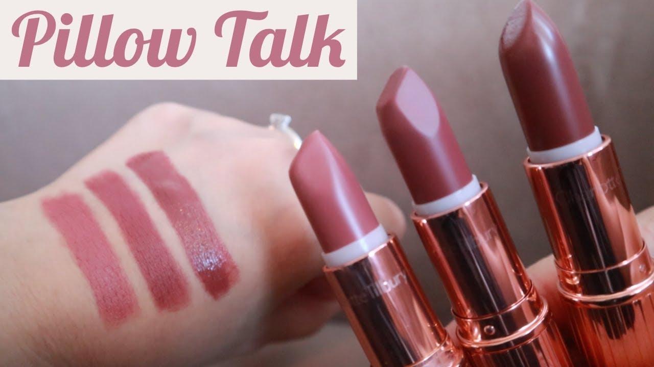 charlotte tilbury pillow talk lipstick swatches original medium intense