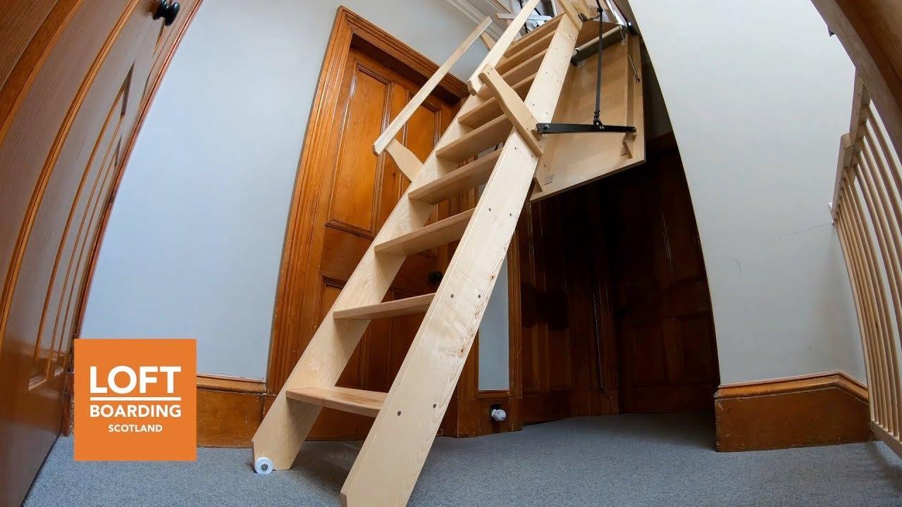 10000 Wooden Electric Loft Ladder Installed By Loft Boarding Scotland In Arbroath