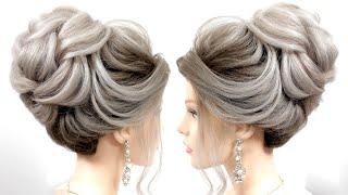 Свадебная прическа на средние и длинные волосы Высокий пучок