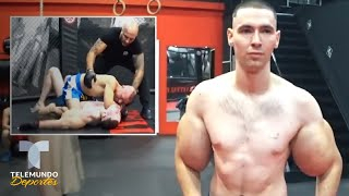 Se inyecta aceite en los brazos y le dan un KO demoledor   Telemundo Deportes