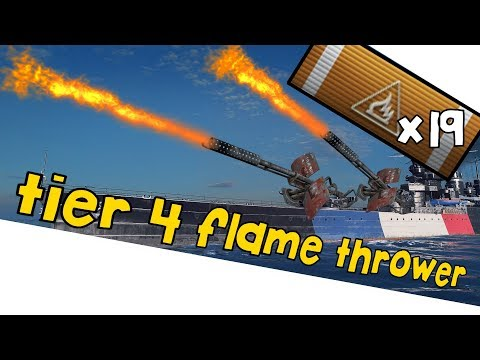 Duguay-Trouin tier 4 flame thrower // WORLD OF WARSHIPS