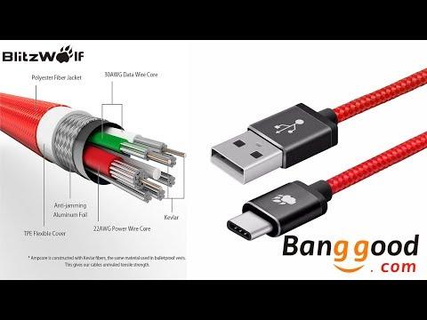 Cable tipo C BLITZWOLF para celular de Banggood - Jorge Aguilar