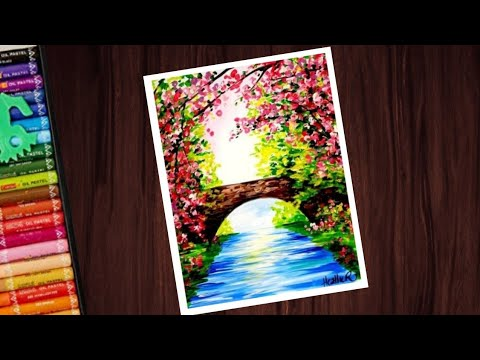 Beautiful spring season scenery drawing with oil pastels ...