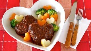 Heart-shaped Simmered Hamburger Steak ハートいっぱい♡煮込みハンバーグの作り方 - Ochikeron - Create Eat Happy