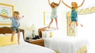 Amelia, Avelina and Akim jumping on the bed and trampoline center adventure