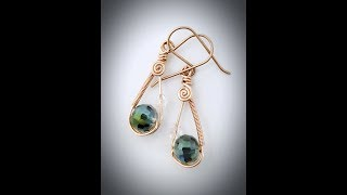 Wire wrapping tutorial `~ Coil teardrop doodle earrings - #5 Doodle Earring Series