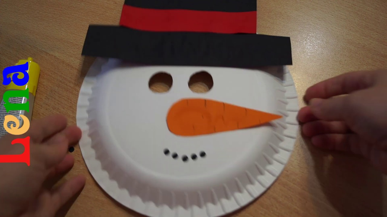 Schneemann Basteln Mit Lena How To Make Snowman Mask Diy как сделать маску снеговика