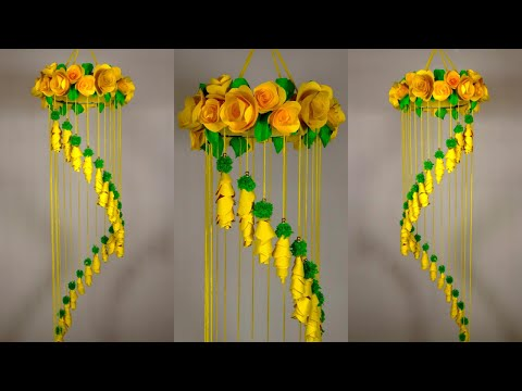 Beautiful YELLOW Wind Chime Wall hanging | DIY Wind Chime | Paper Wind Chime Craft Ideas