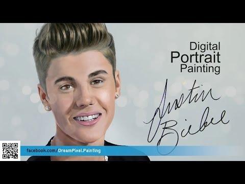 วาดภาพเหมือน จัสติน บีเบอร์ | Time lapse portrait painting Justin Bieber