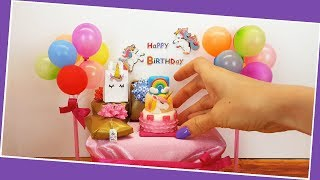 UNBOXING - mini UNICORN gifts! Amazing mini unicorn things! Mini unicorn cake, tiny cake., ASMR