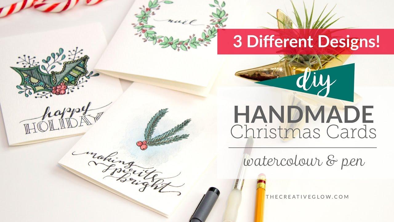 DIY Handmade Christmas Cards // Watercolor & Pen - YouTube