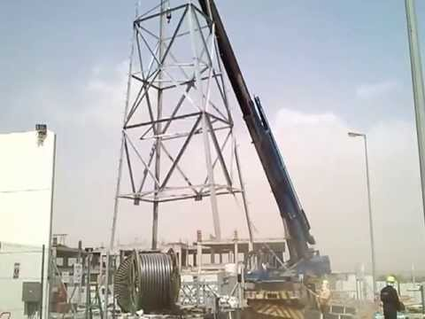 Gantry Erection in 132KV Power Substation - YouTube