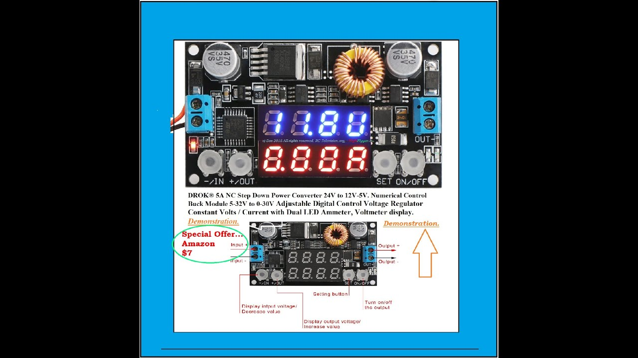 Handy Gadget For 14 Drok Buck Regulator With Dual Led Displays And Circuit Can Adjustable Output Voltage Electronic A Demonstration
