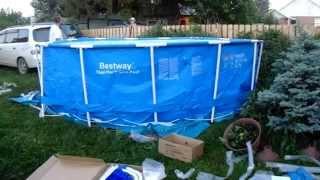 Установка каркасного бассейна BestWay.(Установка каркасного бассейна BestWay. Далее будет видео о самодельном, песочном фильтре, скиммере и помосте..., 2015-06-24T02:57:17.000Z)