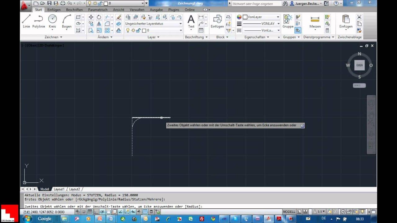 autocad 2012: neue möglichkeiten beim abrunden und kopieren - youtube