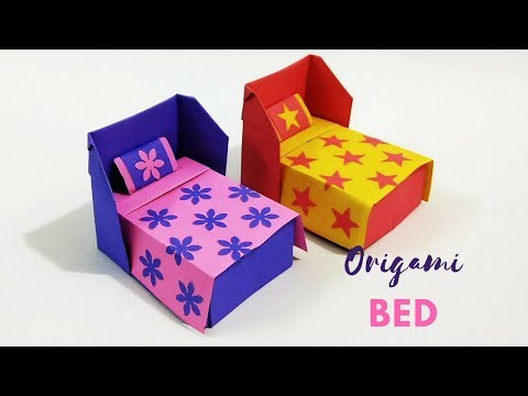 How to Make Origami Bed & Bedding | Paper Bed | Origami Furniture | Easy Origami | Craftastic