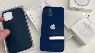 iPhone 12 in Blue with Baltic Blue leather Apple case