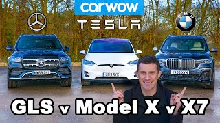 BMW X7 vs Tesla Model X vs Mercedes GLS ... DRAG RACE and REVIEW!