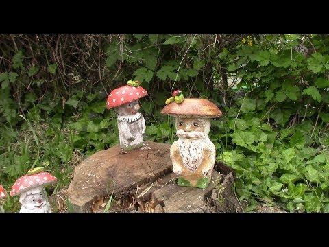 Грибы для сада делаем без форм/ DIY garden mushrooms. ХоббиМаркет