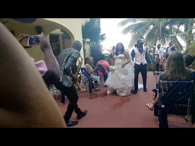 Villa Del Mar St Thomas Virgin Islands Wedding Bride and Groom Ceremony Saxophone Serenade