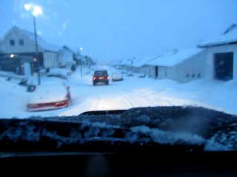Snow driving in the Faroe Island
