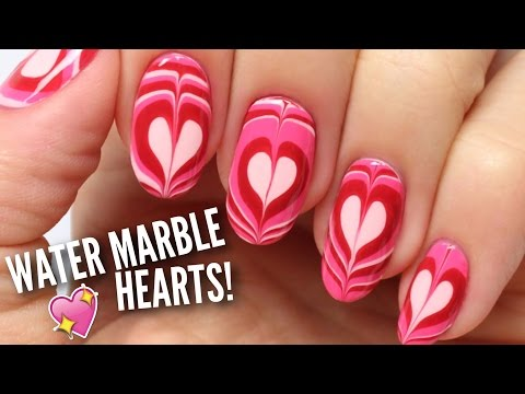 Water Marble Heart Nails | Nail Hack! - YouTube