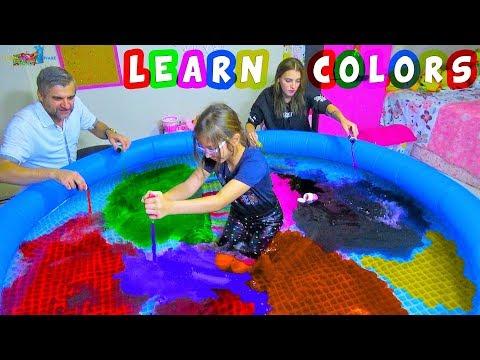 HAVUZU GÖKKUŞAĞI RENKLERİ İLE BOYADIK | Gökkuşağı Gölü | Learn Colors with Colored Water in the Pool