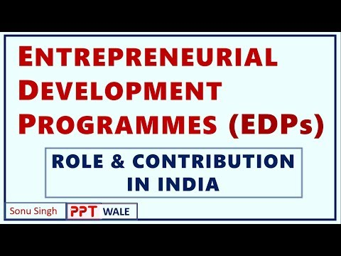 ENTREPRENEURIAL DEVELOPMENT PROGRAMMES (EDP) | Concept | Role & Contribution in India | BBA/MBA ppt