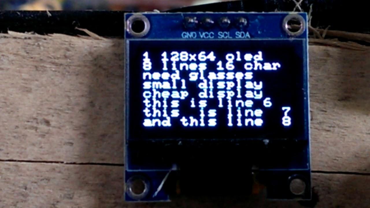Oled iic I2c twi 128x64 test demo u8x8 u8g2