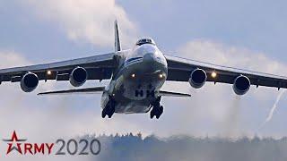 """Антонов Ан-124 """"Руслан"""" взлёт посадка в дождь . Армия 2020 ."""