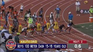 AAU junior Olympic games 15-16 boys 100m semi final