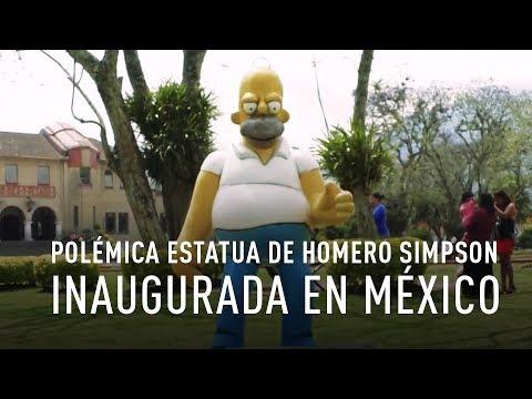 Polémica estatua de Homero Simpson inaugurada en México