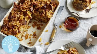 Chrissy Teigen's French Toast Casserole With Salted Frosted Flakes | Genius Recipes