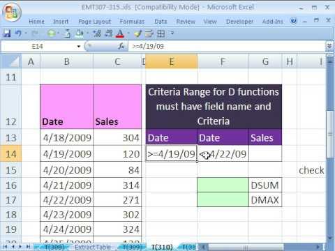Excel Magic Trick 310: D Functions & Date Criteria