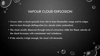 Vapour Cloud Explosion; Boiling Liquid Expanding Vapour Explosion/BLEVE; Dust Explosion;