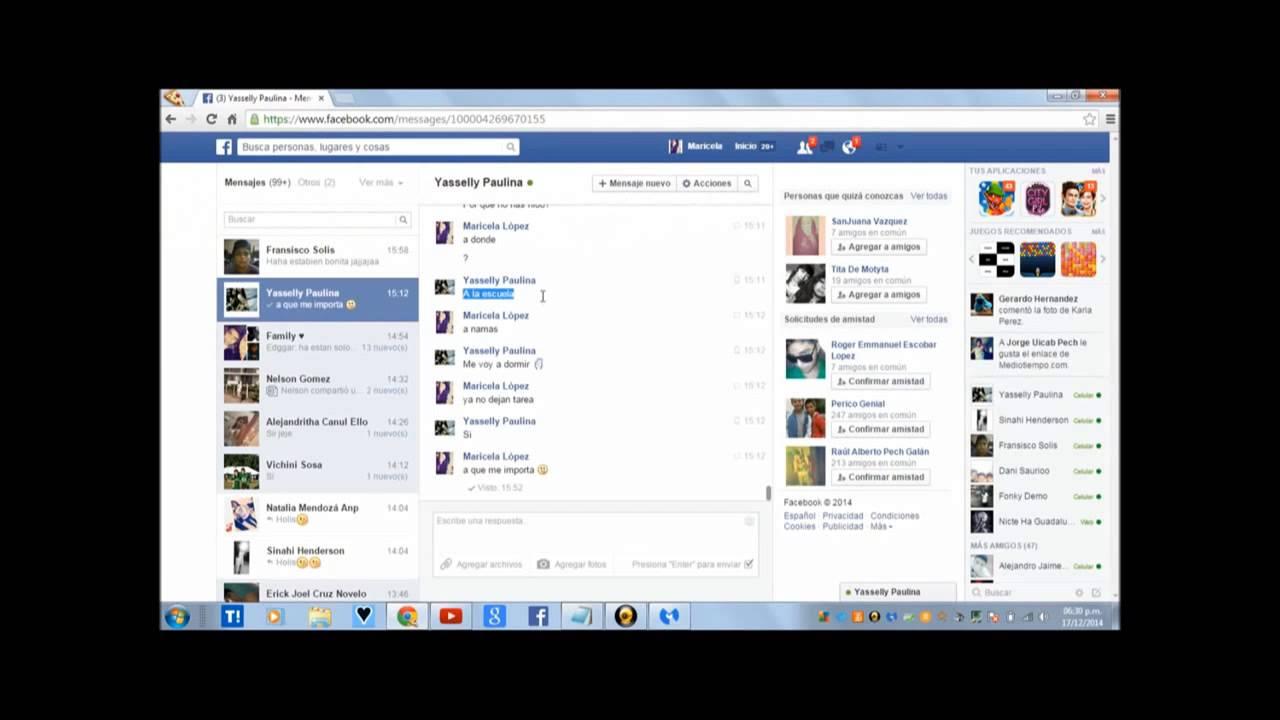 como ver las conversaciones de facebook de alguien mas