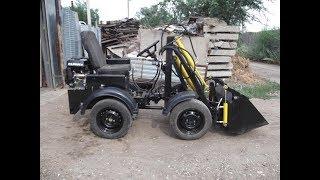 #Самодельный мини трактор #погрузчик с челюстным ковшом.Конец проекта.