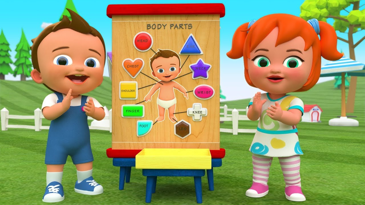 Learning Body Parts with Color Shapes Wooden Toy Set 3D Kids Fun Play Educational Baby Videos