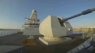 Royal Navy Type 45 Destroyer HMS Dragon (D35) Transits the Suez Canal